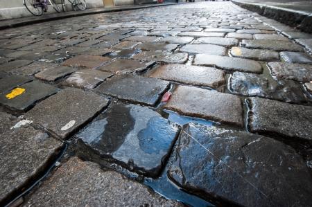 empedrado: Cierre de la textura carretera mojada Foto de archivo
