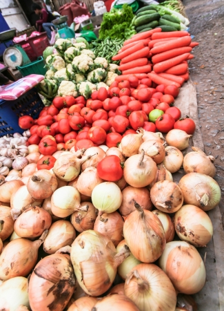 indian fair: Vegetable selling on market road side Stock Photo