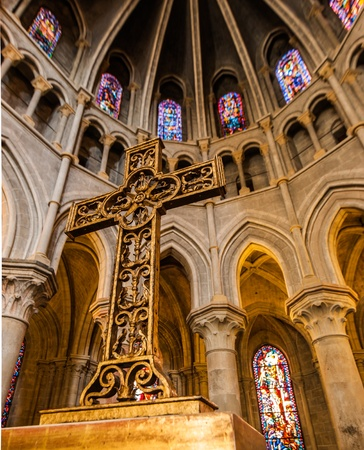 christmas prayer: In side of Notre-Dame Cathedral - Lausanne, Switzerland