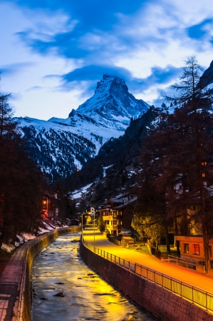 Twilight Scene Matterhorn from city photo