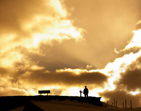 Silhouette of Man with Sun Light In Background photo