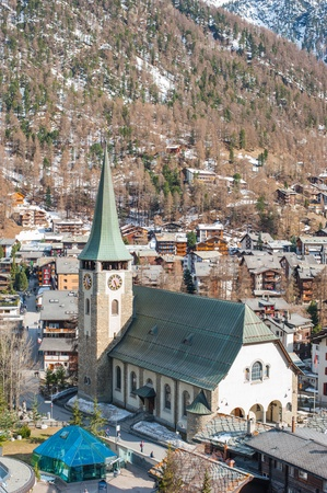 zermatt: Church and Clock Tower at Zermatt Editorial