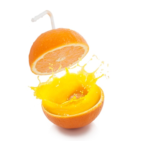 Fresh orange with straw ready to drink Stock Photo