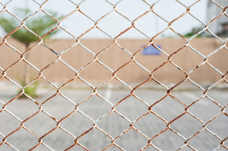 chain fence: wired fence of car park