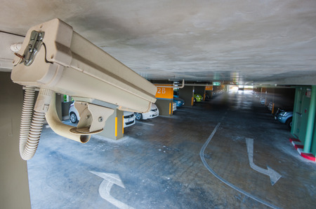 CCTV camera in garage of building Editorial