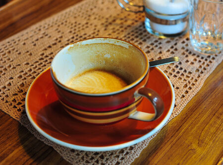 bar top: A cup of drunked fresh coffee, cappucino