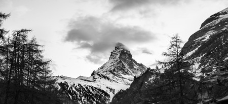 Black and white scene of Matterhorn photo