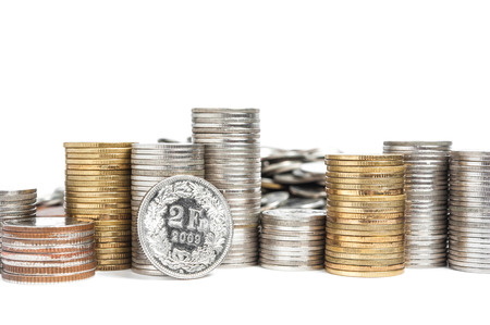 swiss franc: Pile of Swiss Franc Coin Stock Photo