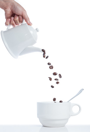 Abstract Pouring Coffee into Cup isolated