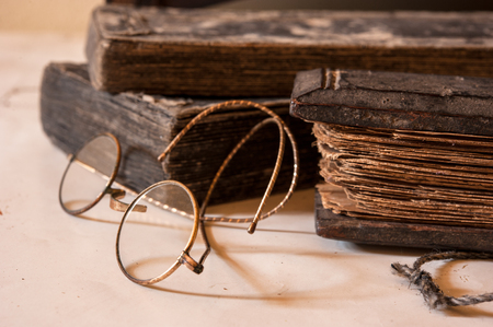 treatise: Hand Written Ancient Treatise of Lanna character with very old glasses