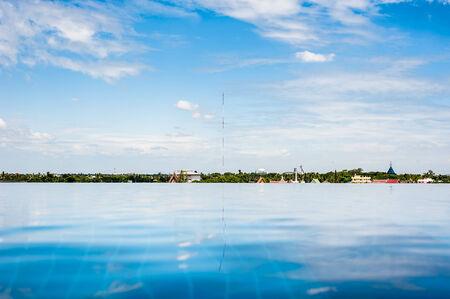 refelction: Refelction of sky and Bangkok cityscape Stock Photo