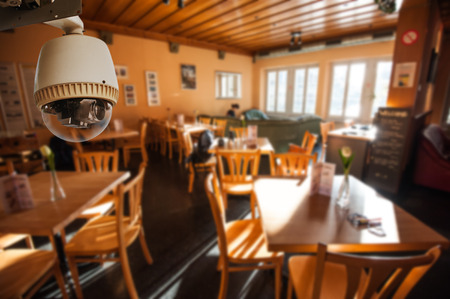 CCTV Camera or surveillance Operating in dining room Editorial
