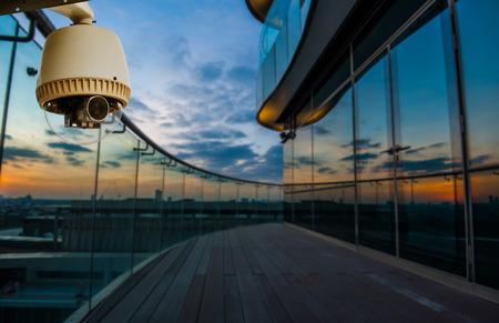 CCTV Camera or surveillance Operating in building s balcony