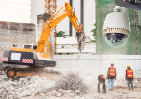 CCTV Camera or surveillance Operating in construction site Stock Photo - 27108131