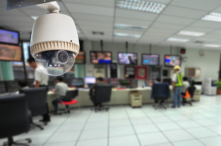 security monitoring: CCTV Camera or surveillance Operating with security room  Editorial
