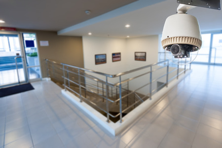 CCTV Camera or surveillance Operating with stair Stock Photo - 27093902