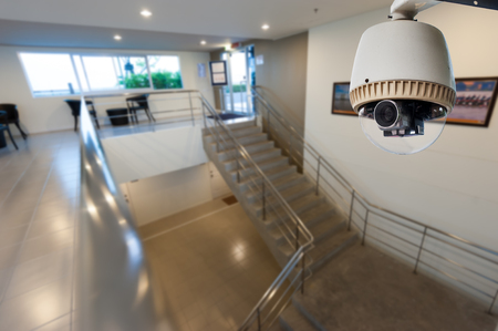 CCTV Camera or surveillance Operating with stair  Editorial