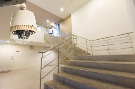 CCTV Camera or surveillance Operating with stair Stock Photo - 27093904