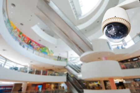 cctv camera: CCTV Camera or surveillance Operating in department store Editorial