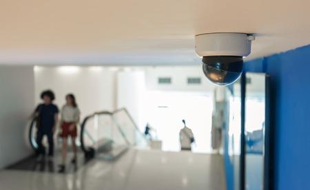 CCTV Camera or surveillance Operating with escalator Stock Photo - 27108363