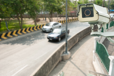 CCTV Camera or surveillance Operating with traffic road photo