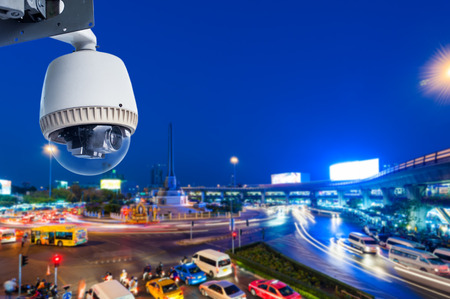 CCTV Camera or surveillance Operating with city traffic  Imagens