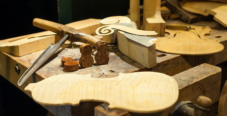 violin making: Table of tools for making violin or viola model