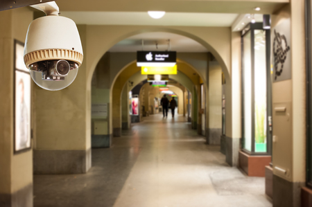 private security: CCTV Camera or surveillance Operating on walk way Editorial