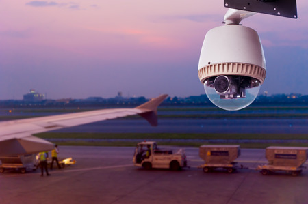 CCTV Camera or surveillance Operating in runway airport Stock Photo