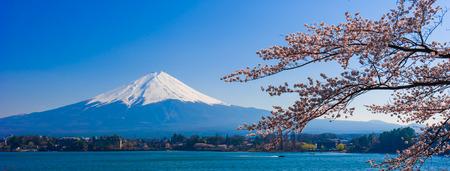 ko: Fujisan , Mount Fuji view from Kawaguchiko lake, Japan with cherry blossom Stock Photo