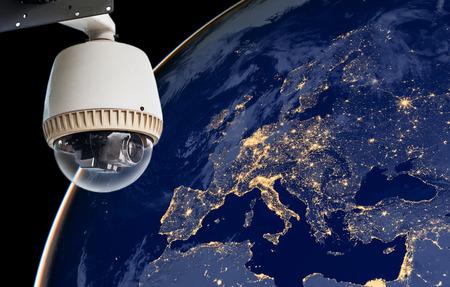 world security: CCTV Exploring europe region. Stock Photo