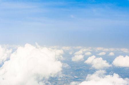 bird eye view: Blue sky with cloud bird eye view