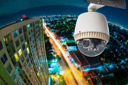 CCTV with Blur City in background fish eye perspective photo