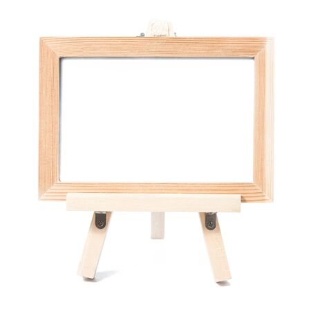 wooden insert: wooden photo frame isolate on white background Stock Photo