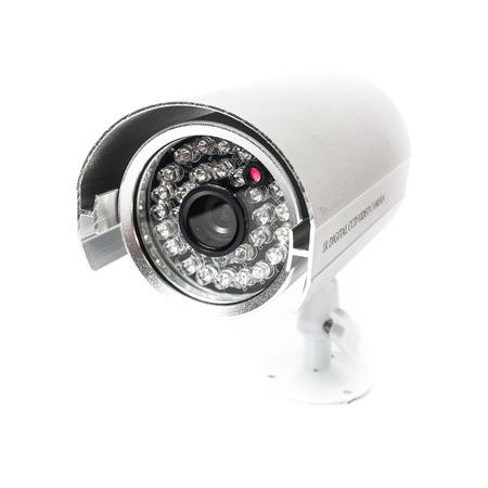 감시의 CCTV 카메라 흰색 배경에 격리 스톡 콘텐츠
