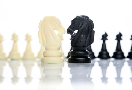 two side of chess face together business concept of competition Stock Photo