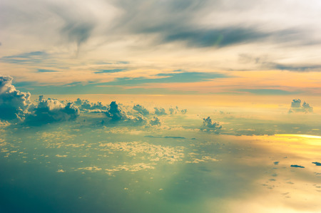 hdri: view of vanilla sky with cloud and sun light Stock Photo