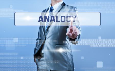 businessman making decision on analogy