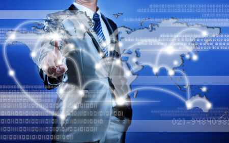 businessman making decision on business strategy, digital globalization concept photo