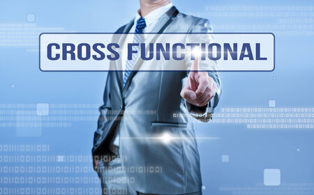 functional: businessman making decision on cross functional Stock Photo