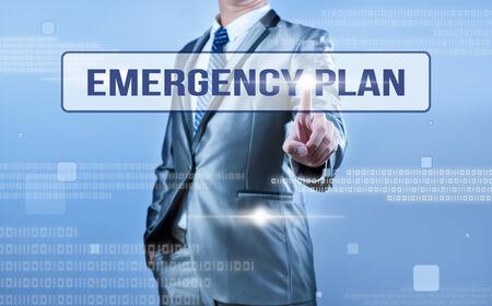 emergency plan: businessman making decision on emergency plan Stock Photo