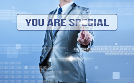 you are special: businessman making decision on quote you are special Stock Photo