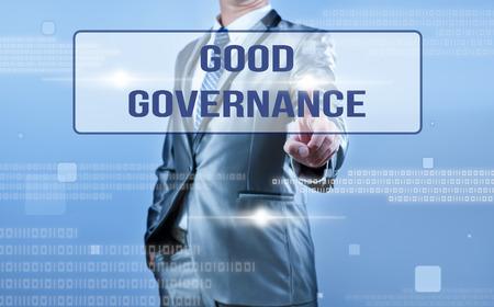 governance: businessman making decision on good governance Stock Photo