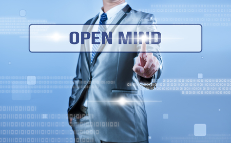 open mind: businessman making decision on open mind Stock Photo