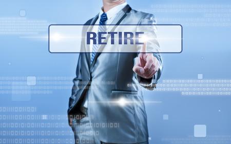 retire: businessman making decision on retire