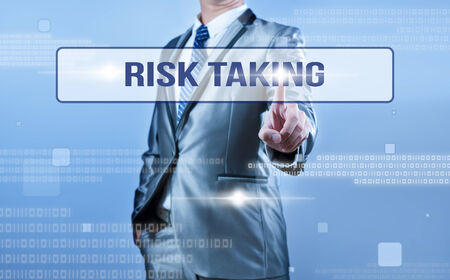 taking a risk: businessman making decision on risk taking
