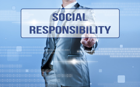businessman making decision on social responsibility