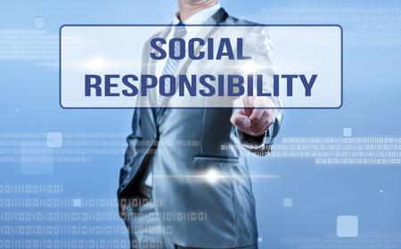 businessman making decision on social responsibility