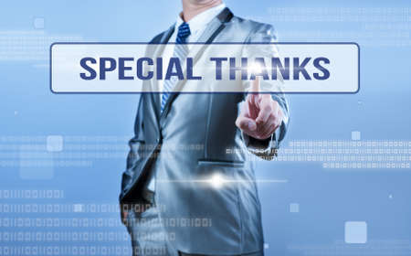 you are special: businessman making decision on special thanks Stock Photo