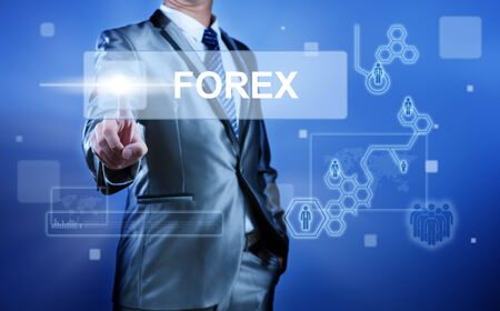 Business man with digital screen press on button forex for word foreign exchange
